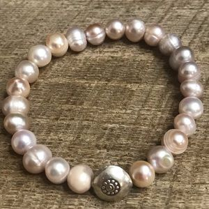 Pearl Stretch Bracelet w/ Sterling Silver Accent